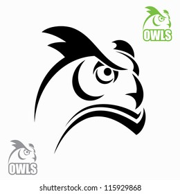 Horned owl head - vector illustrations