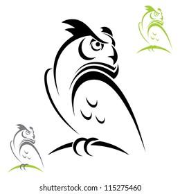 Horned owl - vector illustration