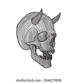 Horned Skull, Hatching Illustration, Hand Drawn, Isolated Vector