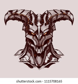 A horned and toothy creepy demon with burning eyes and a skinned skin on a light background. Detailed vector.