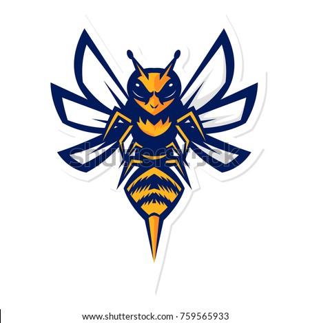 Hornet Bee Mascot Logo Stock Vektorgrafik Lizenzfrei 759565933