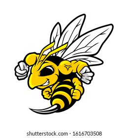 Hornet Bee Mascot Logo Vector