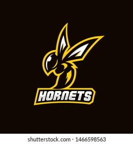 hornet bee mascot sport game logo vector