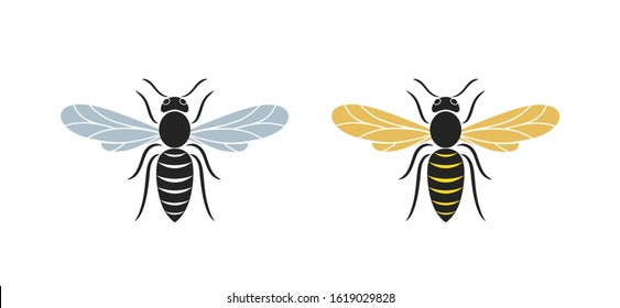 Hornet logo. Isolated hornet on white background. Wasp