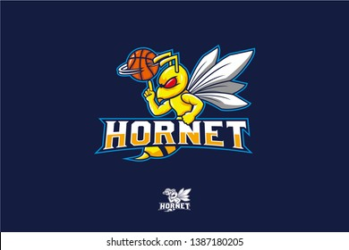 Hornet spin basketball vector, basketball mascot team design