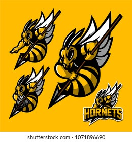 hornet/bee esport gaming mascot logo template