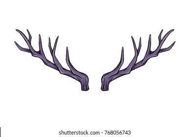 Horns of deer. Hand drawn vector cartoon. Happy new year. Holiday illustration Xmas. Doodle style. Merry Christmas. Logo, print, stamp, patch, design, wallpaper, textile, paper, decor. Eps10