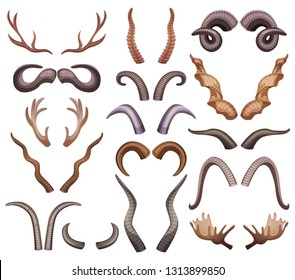 Horns set with isolated colourful horning paired images of different shape and colour on blank background vector illustration