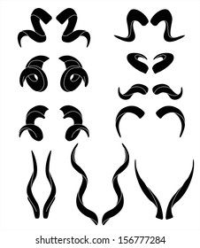 Horns silhouettes. Vector illustration isolated on white