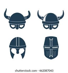 Horns. Viking. Helmet. Barbarian. Knight. Warrior. Vintage label.  Retro badge. Inspirational lettering. Emblem.