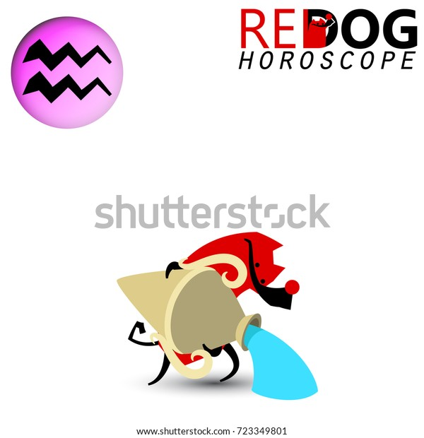 Horoscope 2018 Year Dog Role Aquarius Stock Vector (Royalty