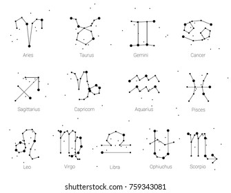 Horoscope, all Zodiac signs in constellation style with line and stars on white background. Collection of zodiac symbols, thirteen of white elements, stars constellations set.