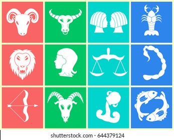Horoscope with all zodiac signs. Minimalism, vector graphics. Zodiac symbols. Astrological icons