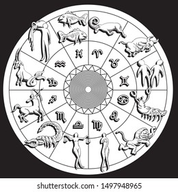 Horoscope and astrology circle zodiac with twelve signs vector. Isolated background. esp 10