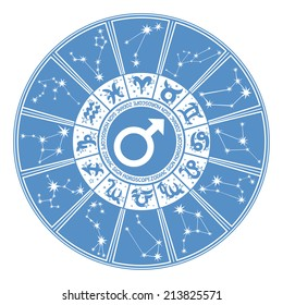 Horoscope circle Zodiac signs and constellations of the zodiac.Inside the symbol of gender character.Design for man.Cyan and white colors.Vector illustration