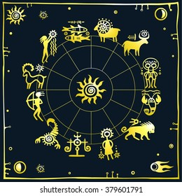 Horoscope circle. Zodiac signs. Dark background. Gold imitation.