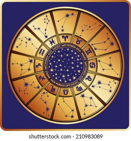 The Horoscope circle with  Zodiac signs ,stars and constellationn in round.Retro style.Vector illustration in square