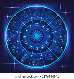 Horoscope circle.Circle with abstract  zodiac signs in neon glowing light on deep blue background. Vector illustration