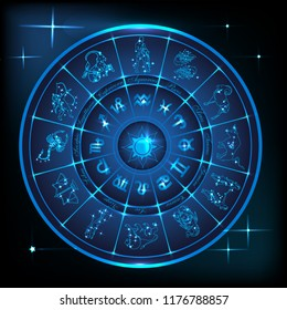 Horoscope circle.Circle with zodiac signs and constellations  in neon glowing light.Vector illustration