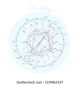 Horoscope natal chart, astrological celestial map, cosmogram, vitasphere, radix. Blue white grey  color. Hand drawn calligraphy. Vector