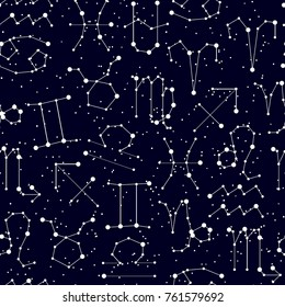 Horoscope seamless pattern, all Zodiac signs in constellation style with line and stars on black sky. Endless background of starry zodiac symbols