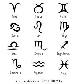 Horoscope. Set of 12 black zodiac signs, constellations with titles isolated on white background: Aries, Taurus, Gemini, Cancer, Leo, Virgo, Libra, Scorpius, Sagittarius, Capricornus, Aquarius, Pisces