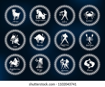 Horoscope set: Leo, Virgo, Scorpio, Libra, Aquarius, Sagitarius, Pisces, Capricorn, Taurus, Aries, Gemini, Cancer.Set of horoscope symbols, astrology icons collection.