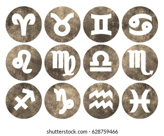 Horoscope set: Leo, Virgo, Scorpio, Libra, Aquarius, Sagitarius, Pisces, Capricorn, Taurus, Aries, Gemini, Cancer.Set of horoscope symbols, astrology icons collection.Grunge,sepia design.