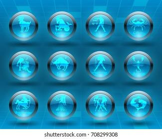 Horoscope set: Leo, Virgo, Scorpio, Libra, Aquarius, Sagitarius, Pisces, Capricorn, Taurus, Aries, Gemini, Cancer.Set of horoscope symbols, astrology icons collection.