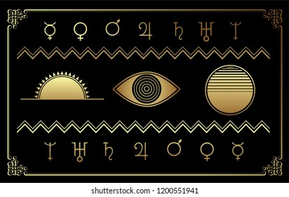 Horoscope set symbols vector illustrations. Golden framed icons of sun, earth, moon and zodiac signs.