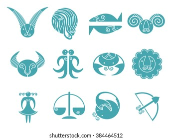 Horoscope signs. Suitable for web design, mobile applications.