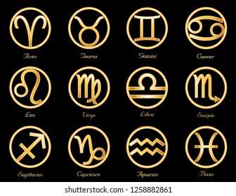 Horoscope Symbols, twelve sun signs of the Zodiac: Cancer, Leo, Libra, Virgo, Scorpio, Sagittarius, Capricorn, Aquarius, Pisces, Aries, Taurus, Gemini. Gold astrology circles isolated on black.