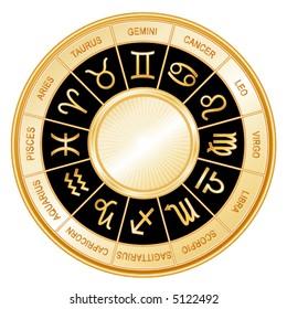 Horoscope Wheel: 12 astrological signs of the Zodiac in gold circle with labels: Aquarius, Aries, Cancer, Capricorn, Gemini, Leo, Libra, Pisces, Sagittarius, Scorpio, Taurus, Virgo. EPS8 compatible.