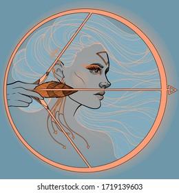 horoscope zodiac a girl sagittarius with bow and arrow.