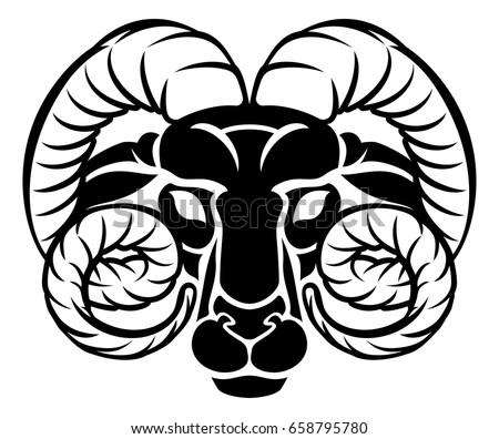 Horoscope Zodiac Signs Circular Aries Ram Stock Vector Royalty Free