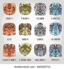 Horoscope. Zodiac signs in ethnic style.Set of vector zodiac signs in a hand drawn style. Zodiac mask