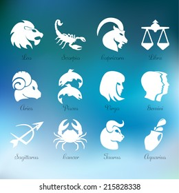 Horoscope zodiac signs, white on blurred modern blue background