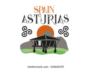 Horreo, old wooden building used as granary. Typical from Asturias, Spain. Vector Ilustration.