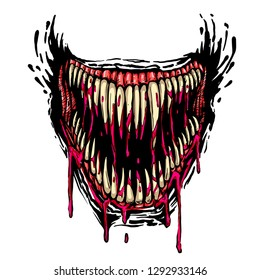 horrible evil fanged jaw with dripping blood