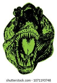 Horrible giant dinosaur, the portrait of tyrannosaurus rex, black and white design illustration.