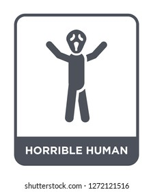 horrible human icon vector on white background, horrible human trendy filled icons from Feelings collection, horrible human simple element illustration
