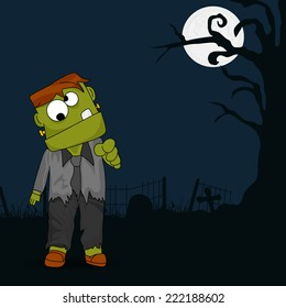 Horrible night view with scary ghost in man's clothes and full moon for Halloween party night.