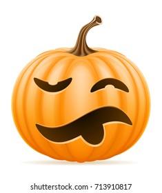 horrible pumpkin halloween stock vector illustration isolated on white background