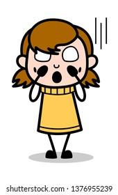 Horrible - Retro Cartoon Girl Teen Vector Illustration