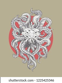 Horrible Sea Monster with Wings and Tentacles. Illustration in Classic Ink Technique in Vector Format.