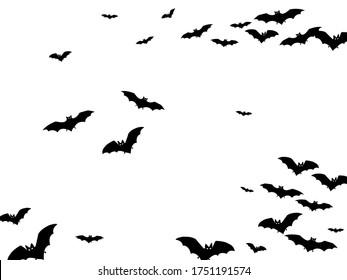 Horrific black bats swarm isolated on white vector Halloween background. Rearmouse night creatures illustration. Silhouettes of flying bats vampire Halloween symbols on white.