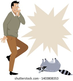 Horrified man looking at a dead raccoon, copy space for pest control service left, EPS 8 vector illustration