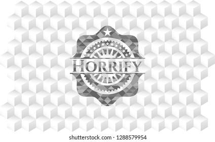 Horrify grey emblem. Vintage with geometric cube white background