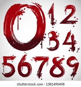 Horror alphabet letters written blood, scary bleed font or evil night wet bloody autumn wet paint 123 sign text