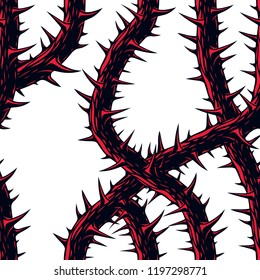 Horror art style horrible seamless pattern, vector background. Blackthorn branches with thorns stylish endless illustration. Hard Rock and Heavy Metal subculture music textile fashion stylish design.